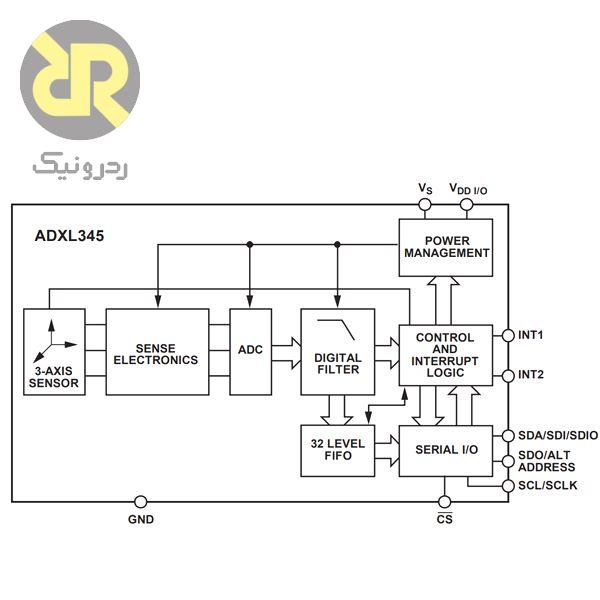 سنسور شتاب سنج سه محوره ADXL345BCCZ
