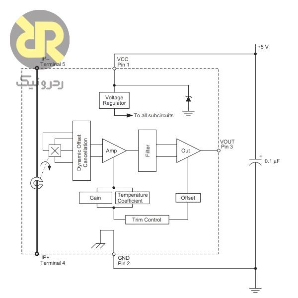 حسگر جریان اثرهال ACS754LCB-050-PFF