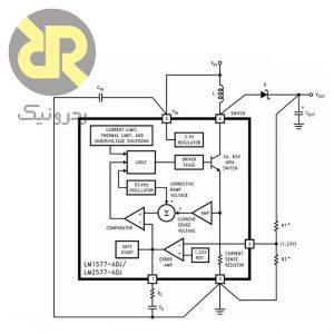 رگولاتور سوئیچینگ افزاینده LM2577S-ADJ با فرکانس 52 کیلوهرتز ،ماکزیمم ولتاژ خروجی 60 ولت ،ماکزیمم ولتاژ ورودی 40V و ماکزیمم جریان خروجی 3A
