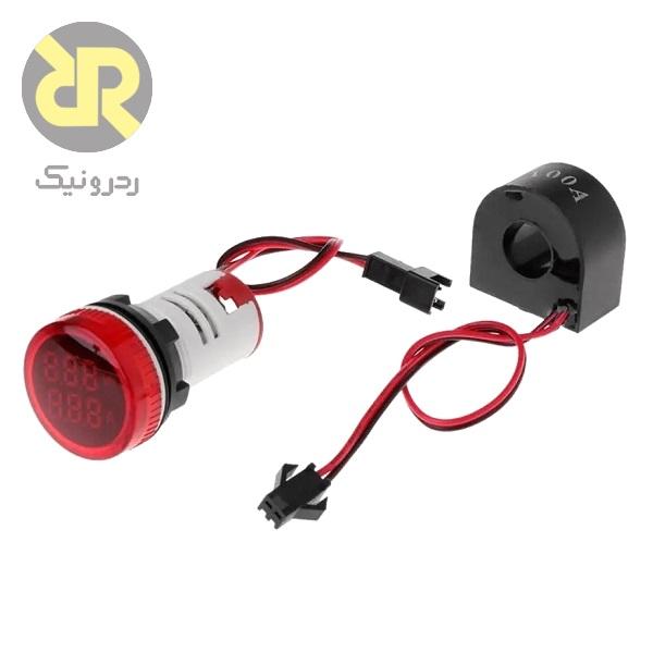 ولتمتر آمپرمتر AC پنلی گرد قرمز AD101-22VAM,